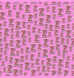 Seamless childish pattern with letters z zzz vector