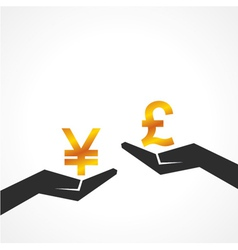 Hand hold yen and pound symbol to compare vector