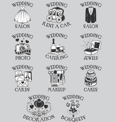 set of wedding pictograms black outline vector image