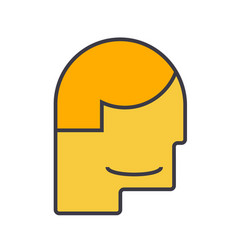 male head flat line  concept vector image
