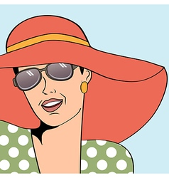 Popart retro woman with sun hat in comics style vector