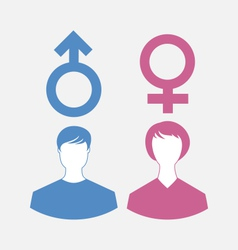 Male and female icons gender symbols - vector