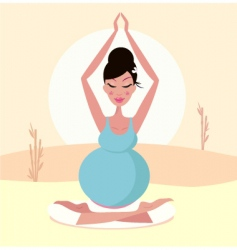 Pregnant yoga mom vector
