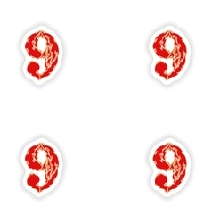 Assembly stickers fiery font red number 9 on white vector