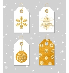 Gold textured festive gift tags vector