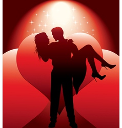 couple silhouette with hearts vector image
