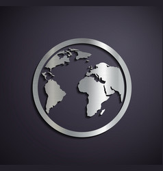 Flat metallic logo earth vector
