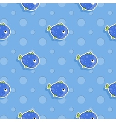 Seamless sea pattern with smiling blue fish vector