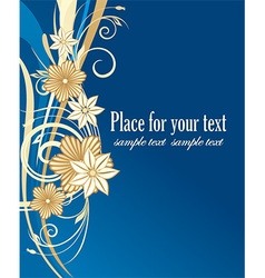 Blue and gold floral design vector