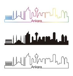 Ankara skyline linear style with rainbow vector
