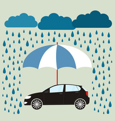 blue umbrella protecting car against rain flat vector image vector image