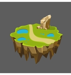 Cartoon stone isometric island with waterfall and vector