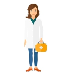 Doctor with first aid box vector image