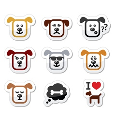 Dog icons set - happy sad angry isolated on whit vector