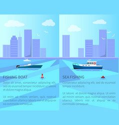 fishing boat in sea with cityscape on horizon vector image