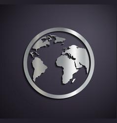 Flat metallic logo earth vector