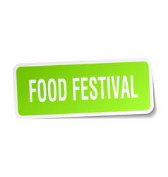 food festival square sticker on white vector image
