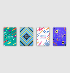 Four colorful covers collection in flat design vector