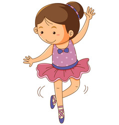 Girl in pink ballet outfit on white background vector