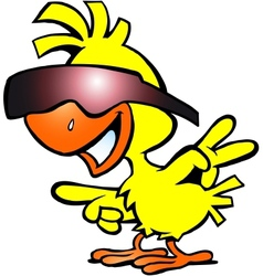 Hand-drawn of an smart chicken with sunglass vector image