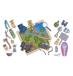 hiking equipment info graphicsmountain icons vector image