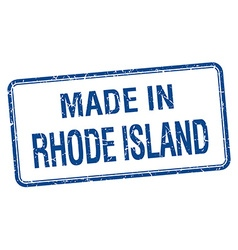 Made in rhode island blue square isolated stamp vector