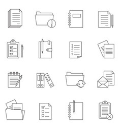 Outline document notes icon set vector