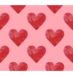 polygonal red hearts vector image vector image