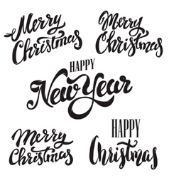Set of Merry Christmas lettering isolated on white vector image vector image
