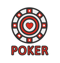 Sign of poker red and white chip flat design vector