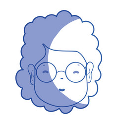 Silhouette woman face with hairstyle and glasses vector