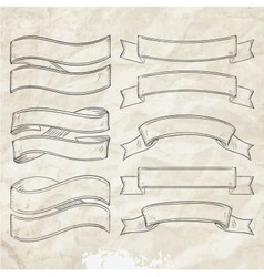 simple ribbon collection vintage vector image