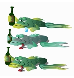 Three funny drunken fishes with bottle vector