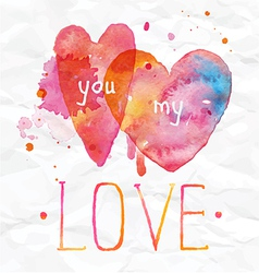 Watercolor valentines day hearts lettering love vector