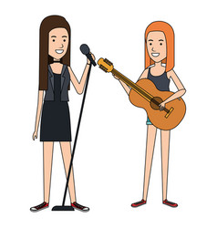 women singing and playing guitar vector image vector image