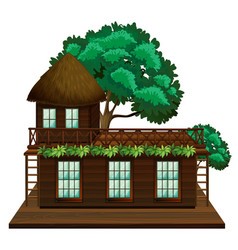 Wooden cabin with green tree vector