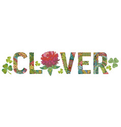 Word clover decorative zentangle object vector