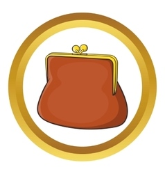 Brown retro purse icon vector