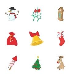 Winter holiday icons set cartoon style vector