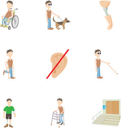 Cripple icons set cartoon style vector