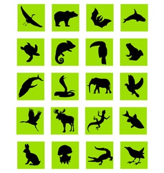 Animal silhouette green icons vector