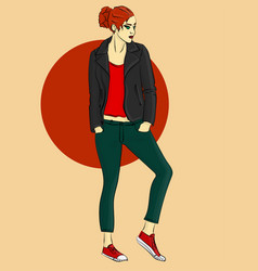 girl in a leather jacket vector image