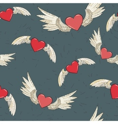 Seamless wings and heart vector