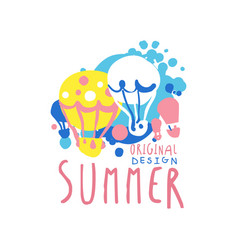 Summer logo template original design colorful hand vector
