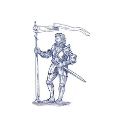 Knight standing with lance and flag vector image