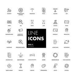Line icons set business vector
