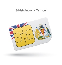 British antarctic territory phone sim card with vector
