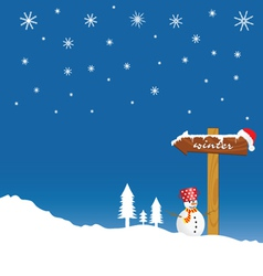 Snowman and winter idyll color vector