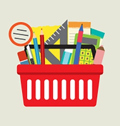 School supplies in basket vector