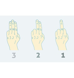 Three step countdown with middle finger light vector